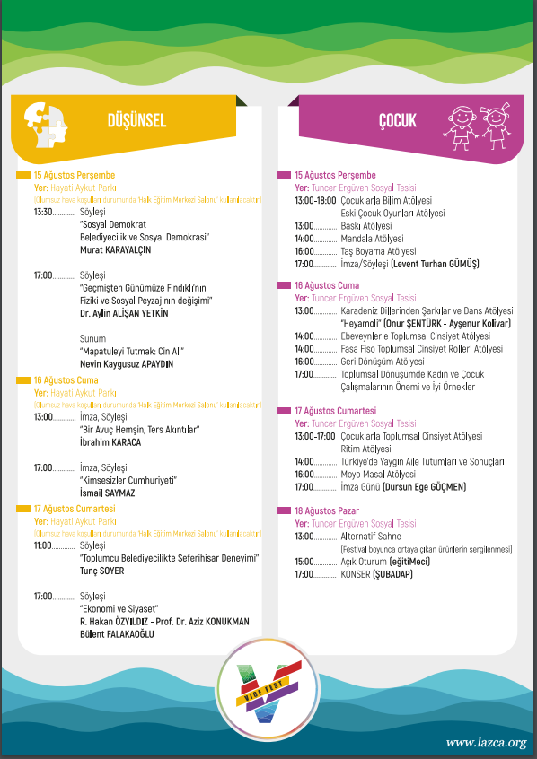 Findikli Belediyesi Yesil Altin Gumus Deniz Festivali Programi