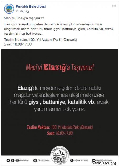 Rize Fındıklı belediyesi Elazığ depremi için giysi ve battaniye kampanyası başlattı